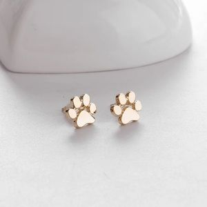 🎉 Gold Plated Paw Print Stud Earrings